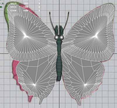 人の細胞を食べる蝶元画像+胴体+羽
