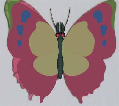 人の細胞を食べる蝶元画像+胴体+羽レンダ