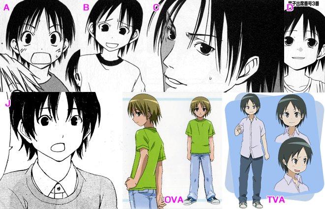 今日の5の2 原作コミックス・OVA・TVアニメのキャラ比較