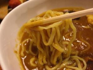 09070520あってりめん・7月限定、カレつけ(普通盛り) 麺 in スープ