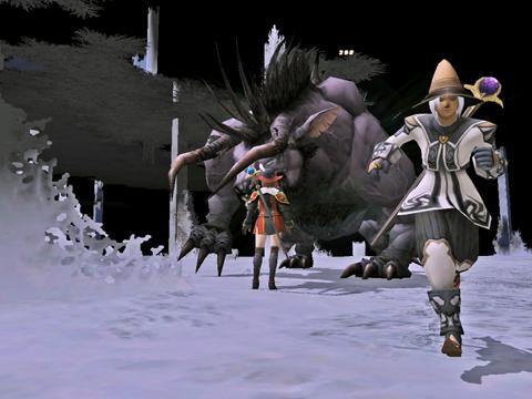 第五層:ボスのベヒモなんです、逃げ惑う人たちをかばって立ち向かうアメニ!