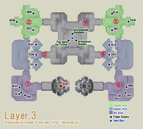 中央塔3階の地図です、番号順に倒していきます!