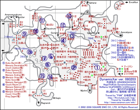 裏ザルカの配置図です、砦のNMは無視します^^