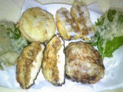 れんこんの大豆ミート挟み揚げ天ぷら&椎茸の大豆ミート詰め
