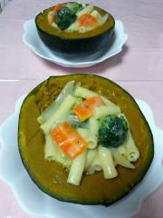 かぼちゃとマカロニ入り豆乳シチュー