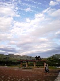 雨上がりの青い空、秋の平尾台