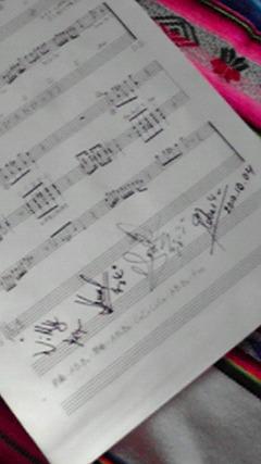 サイン入りのアレキパ楽譜
