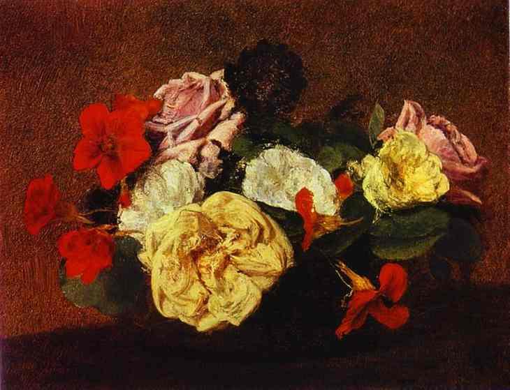 アンリ・ファンタン=ラトゥール【花瓶に活けた薔薇と金蓮花】