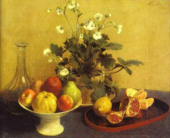 アンリ・ファンタン=ラトゥール【花と皿に入った果物と水差し】