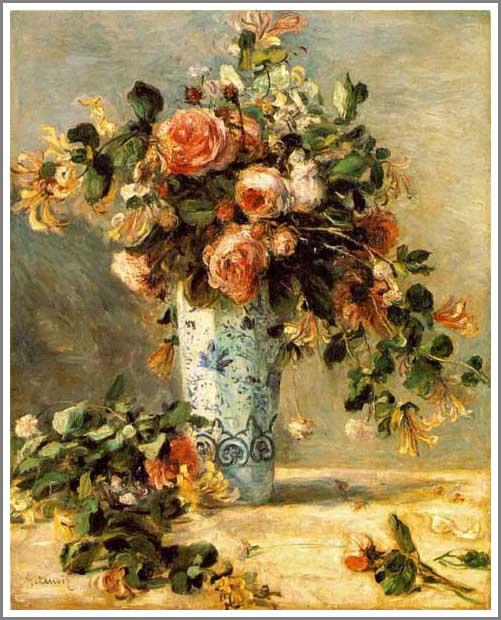 ルノアール 花瓶に入ったばらとジャスミン