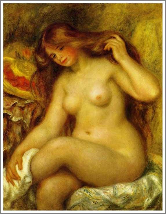 ルノアール【足を組む裸婦と帽子】