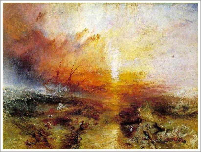 死人と死に瀕した人を船外に投げ込む奴隷船 ターナー