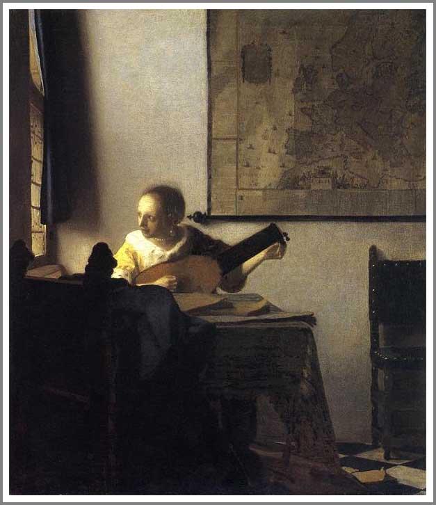 リュートを調弦する女(窓辺でギターを弾く女)