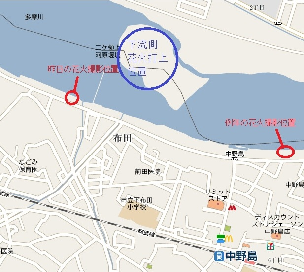 花火撮影位置の地図