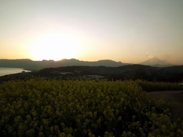 二宮 吾妻山山頂にて、日没時の風景