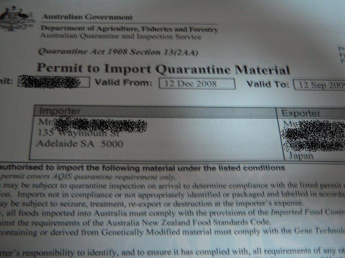 Permit to import
