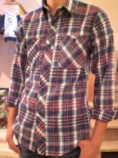 インディゴネルチェックL/Sシャツ