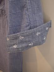 ORGコットンリネン チェックプルオーバー7分袖シャツ