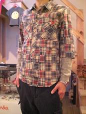 パッチワークDGワーク7分袖シャツ