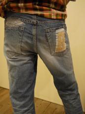 HP405リーフパッチストレートジーンズ