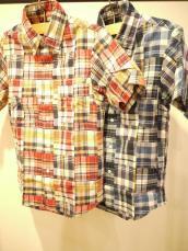 マドラスパッチワーク ボタンダウンシャツ