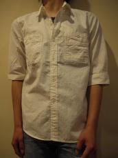 シャンブレー7分袖ワークシャツ