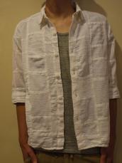 ホワイトパッチワーク7Sシャツ