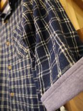 インディゴチェック5分袖シャツ