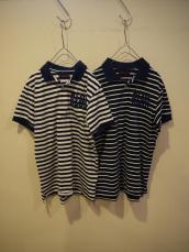 BLUEフロッキーストライプポロシャツ