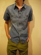ライトデニム ユーズド2ポケットワークシャツ