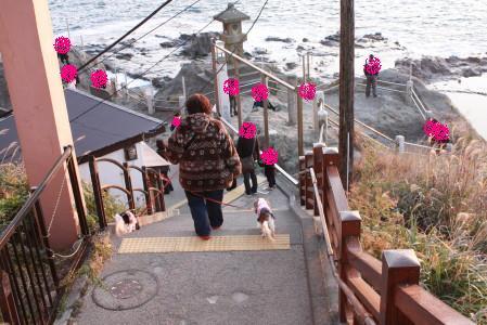 岩屋に向かう途中の階段で・・・