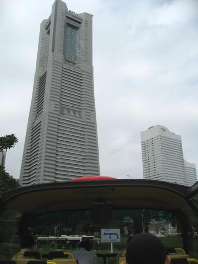 出発前車内からのランドマークタワー