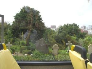 車内からの外人墓地