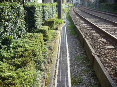 線路わきの道