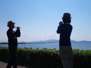 琵琶湖でよし笛♪