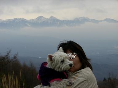 八ヶ岳連峰とクララとおかーたん