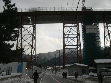 余部鉄橋工事中