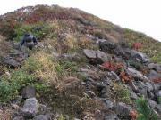 山頂付近 森林限界を抜けた岩場の登山道