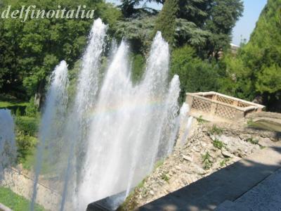 虹のかかる噴水