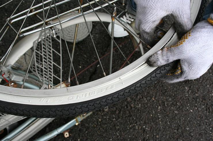 自転車 タイヤ交換 外側タイヤ ... : 自転車のタイヤ交換 自分で : 自転車の