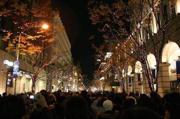 神戸ルミナリエ2008 大丸近く 行列の最終コーナー