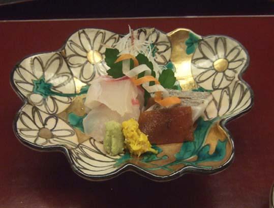 20100910 菊の井 赤坂店  023 向こう付け 明石天然鯛 太刀魚 19cm