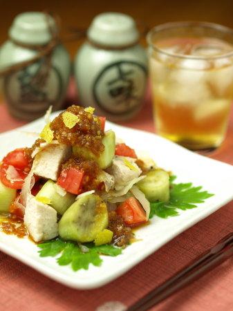 鶏胸肉と茄子のサラダa19