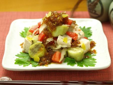鶏胸肉と茄子のサラダa15