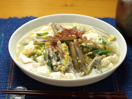 マテ貝と豆腐の玉子とじa02