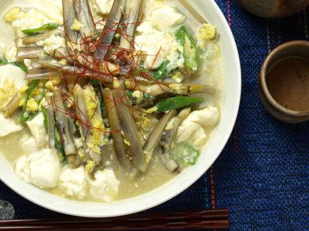 マテ貝と豆腐の玉子とじa04