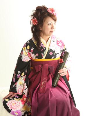 秋田の卒業式 スタジオ撮影 大学卒業 卒業小袖 メグミさん