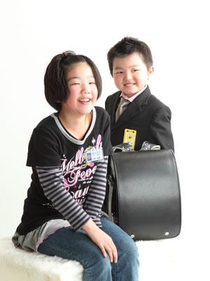 秋田の入学写真 スタジオ撮影 小学入学 リピーター ソラ&ミコト