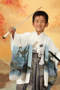 秋田の七五三 スタジオ撮影 5歳 おサムライ