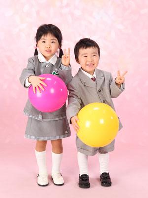 秋田の入園写真 スタジオ撮影 入園記念 ハルキ&ナナミちゃん
